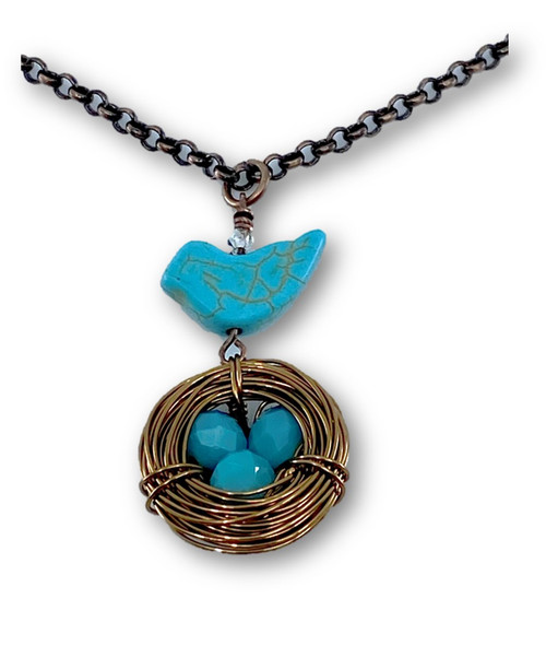 Long Turquoise Bird and Nest Necklace