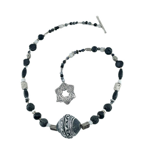 Black, Siver & White Bead Necklace with Large Black Clay Focal Bead