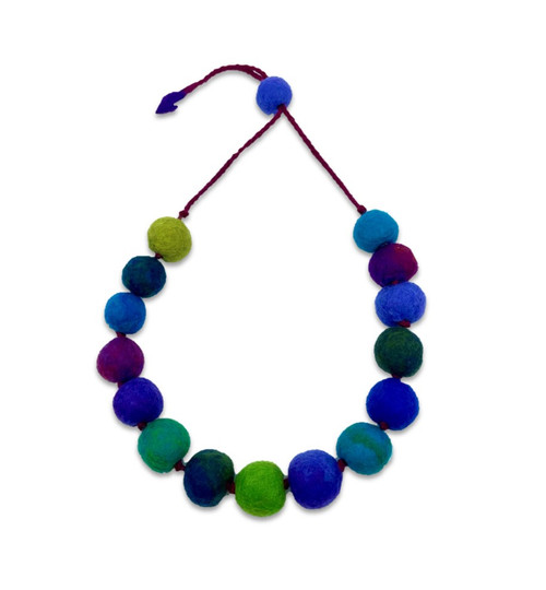 Felted Fine Merino Wool Large Bead Necklace In Blues and Greens