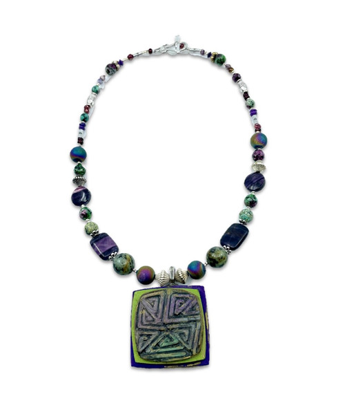 Beaded Necklace in Purples & Greens with Square Focal Pendant