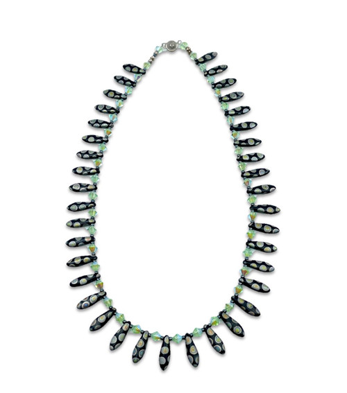 Wild Spotted Bead and Iridescent Crystal Necklace
