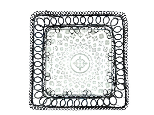 Wire Wrapped Ceramic Square Wall Hanging