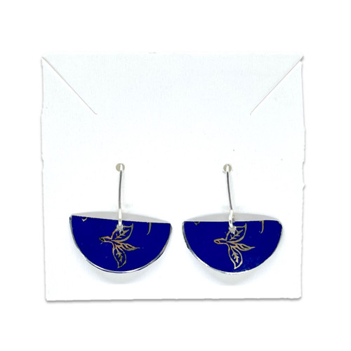 Tin Earrings - Semicircle - Blue with Foliage