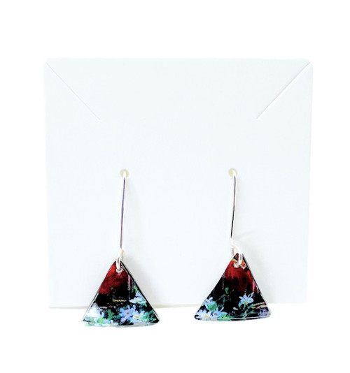 Tin Earrings - Large Triangle - Maroon Blue White Flowers