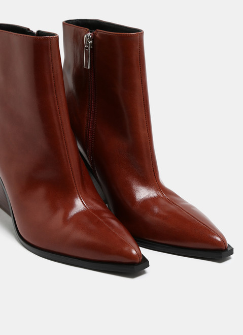 Brown Leather Ankle Western Boots