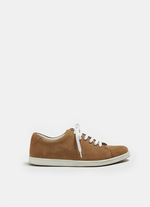 Camel Suede Sneaker With Rubber Sole