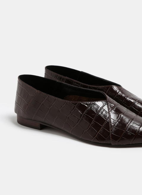Chocolate Croc Embossed Leather Slippers
