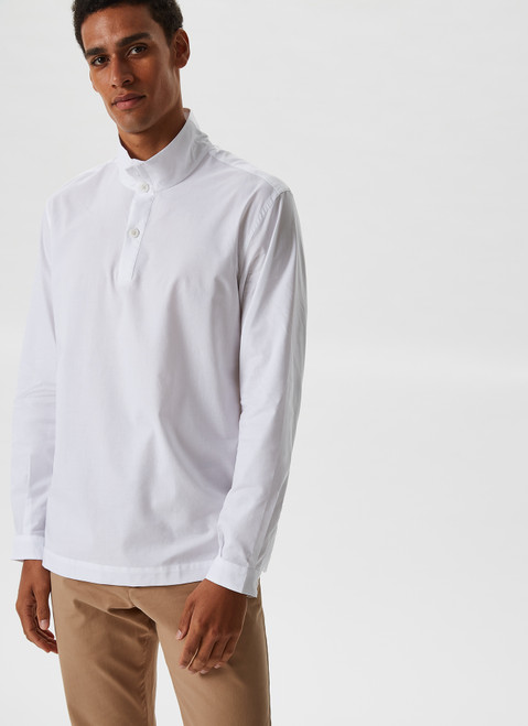 COTTON BLEND SHIRT WITH STAND COLLAR