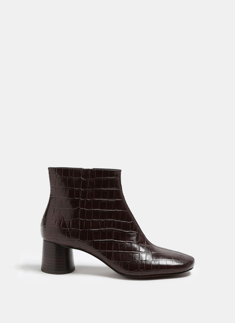 Chocolate Embossed Leather Ankle Boots