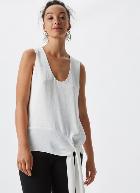 WHITE FLUID TOP WITH SIDE KNOT DETAIL