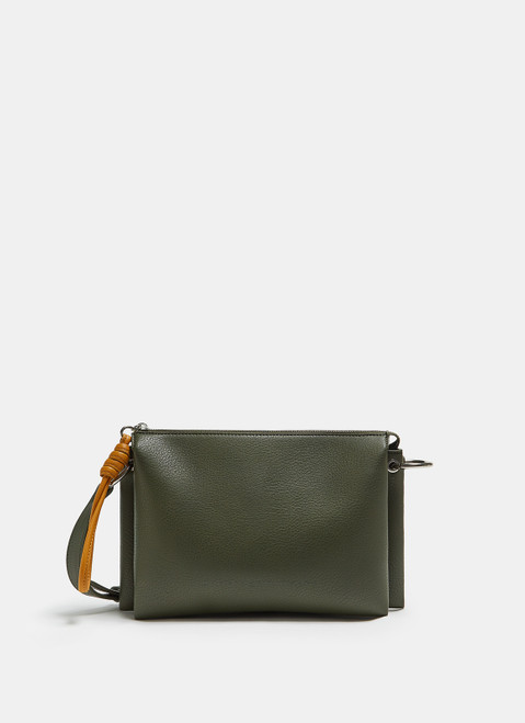 Green Crossbody Bag With Triple Compartment