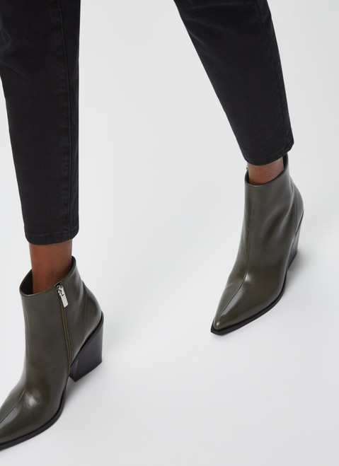 Green Leather Ankle Western Boots
