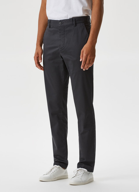 GREY ELASTIC GARMENT-DYED CHINO TROUSERS