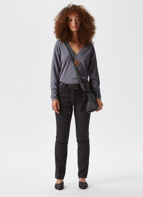 Grey Ankle-Length Trousers With Straight Leg