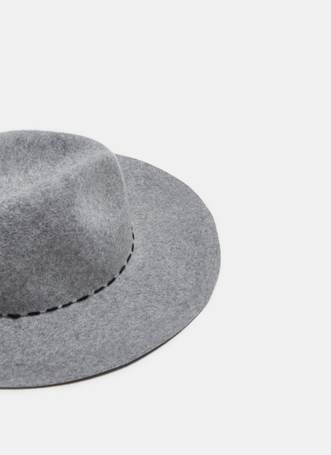 Grey Wool Hat With Contrasting Stitching