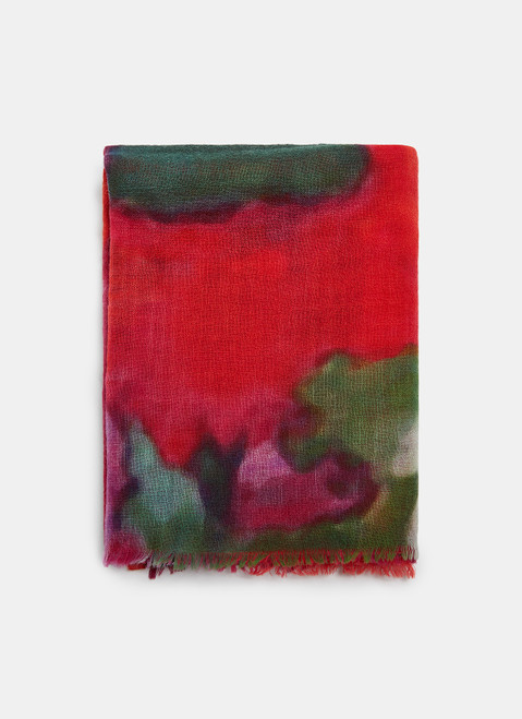 Merino Scarf With Abstract Print