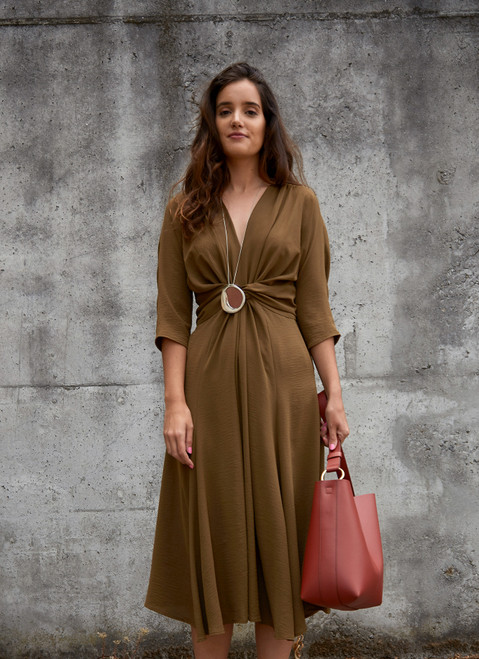 Midi Dress With Knotted Waist Detail