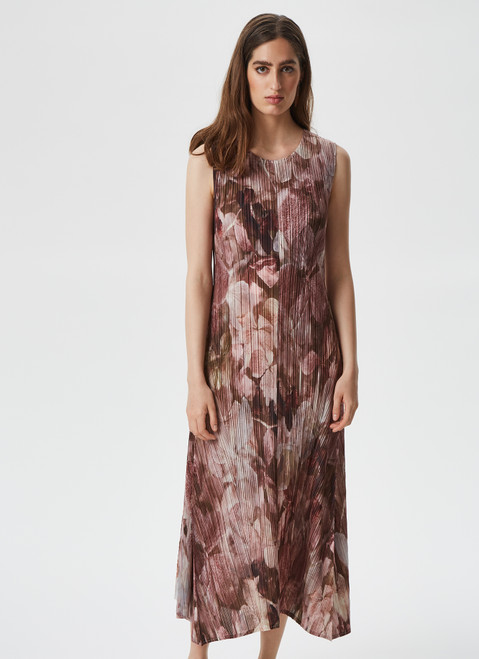 MULTICOLOR CRINKLE MIDI DRESS WITH PRINT