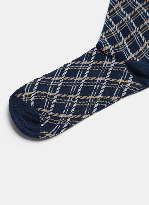 Navy Blue Low Cut Socks With Check Pattern