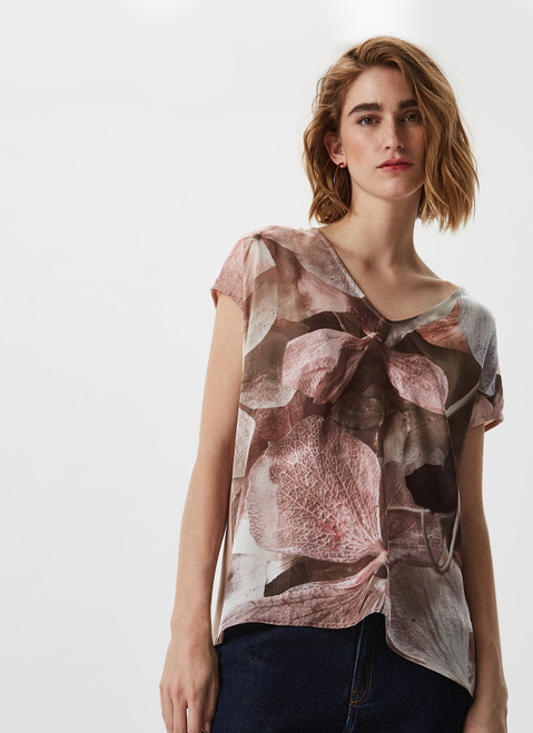 MULTICOLOR T-SHIRT WITH PRINT AND KNIT BACK