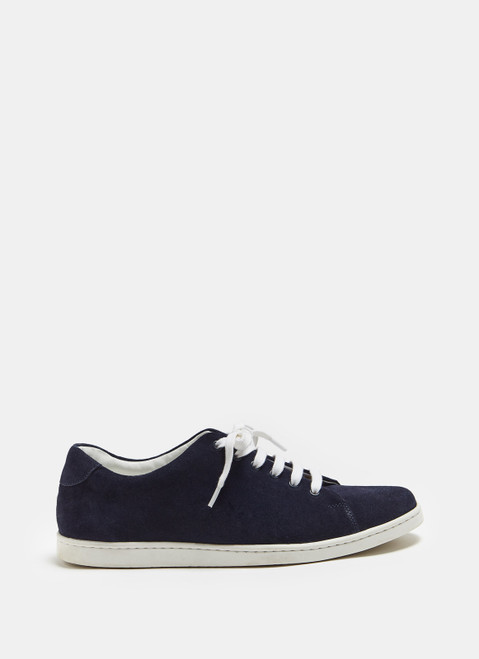 Navy Blue Suede Sneaker With Rubber Sole