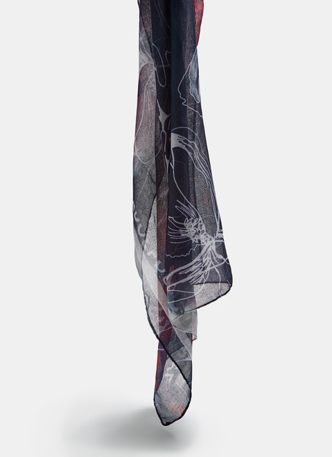 Multicolor Scarf With Abstract Floral Print