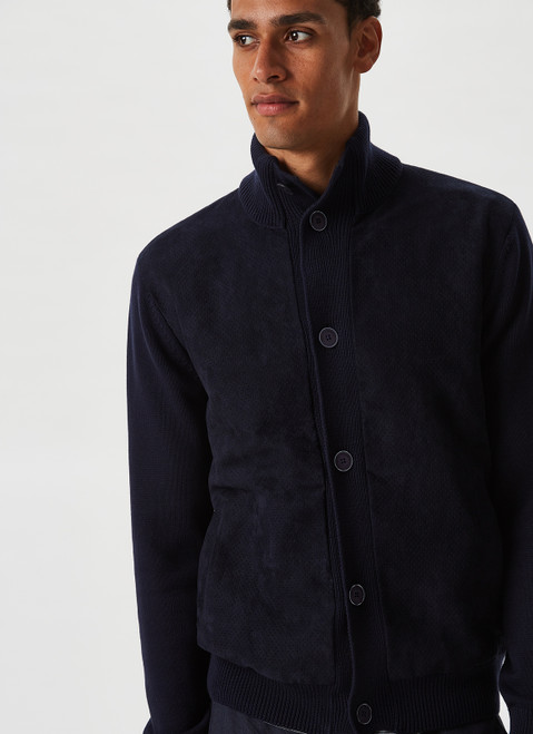 Navy Blue Cardigan With Suedette Front