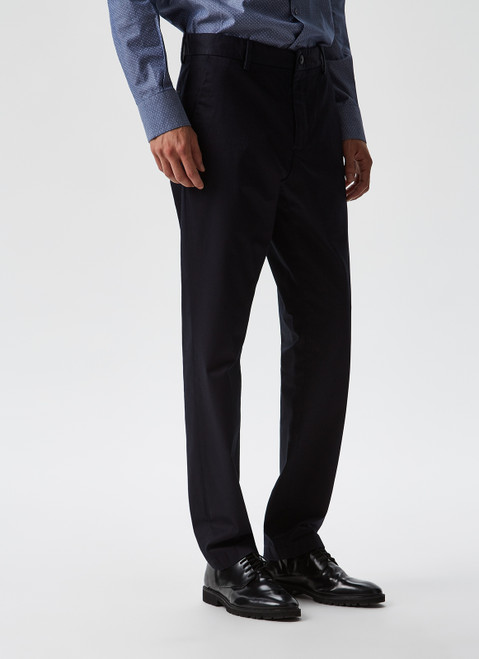NAVY BLUE ELASTIC GARMENT-DYED CHINO TROUSERS