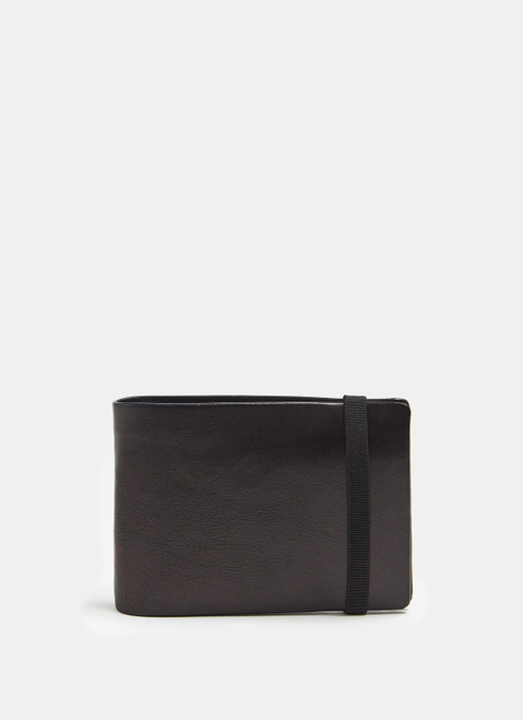 BLACK LEATHER WALLET WITH ELASTIC CLOSURE