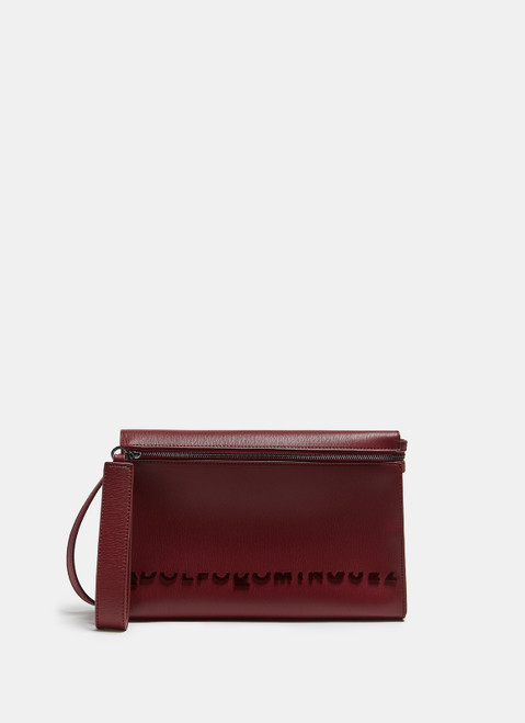 Red Faux Leather Crossbody Bag With Logo