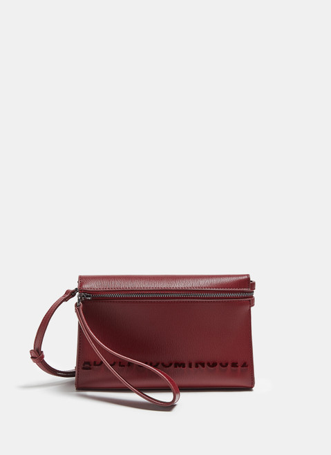 Red Faux Leather Logoed Mini Crossbody Bag