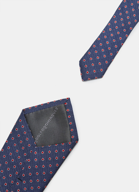 Silk Tie With Red Dots
