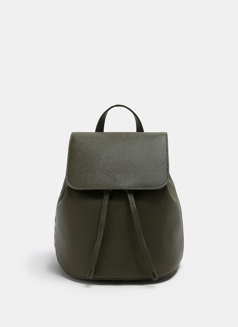 Saffiano Faux-Leather Backpack With Logo