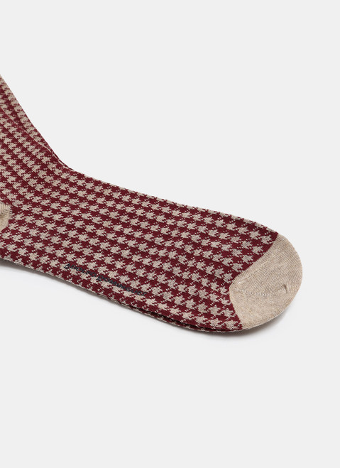 SAND LOW CUT SOCKS WITH HOUNDSTOOTH PATTERN