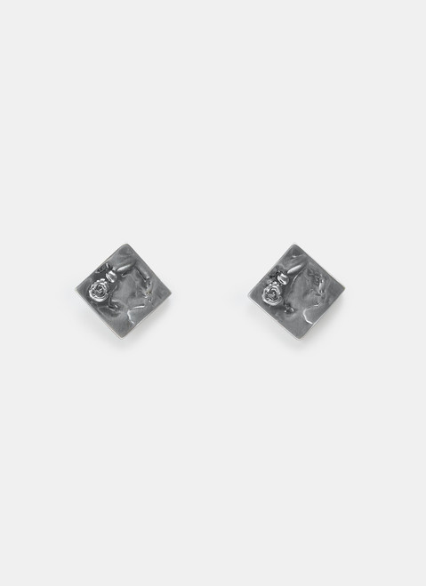Silver Short Earrings With Engraved Flower