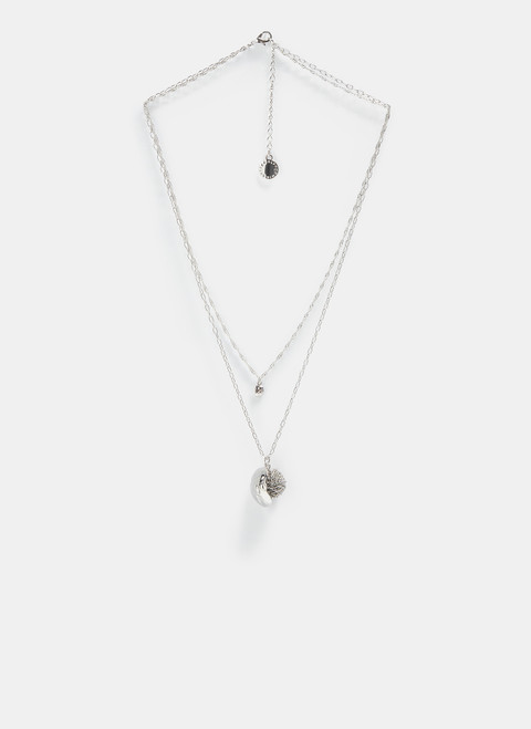 Silver Necklace With Pom Pom And Leaf Pendants