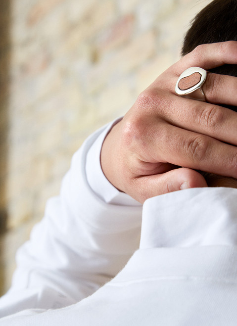 SILVER RING WITH WOODEN SHAPE