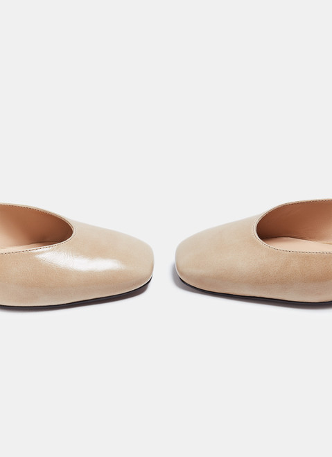 Taupe Open Shoes With Low Heel