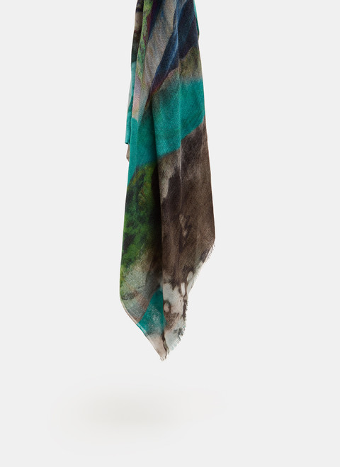 TURQUOISE PRINT MERINO WOOL SHAWL WITH ABSTRACT PRINT