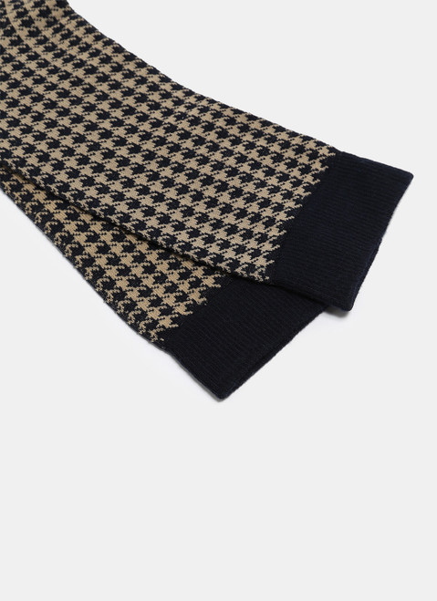 Tan/Navy Blue Low Cut Socks With Houndstooth Pattern