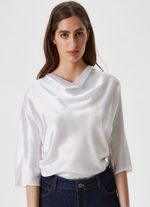 White Mulberry Silk Top With Draped Neckline