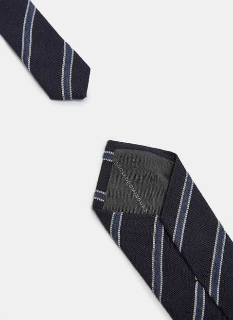 Wool And Silk Tie With Double Stripe