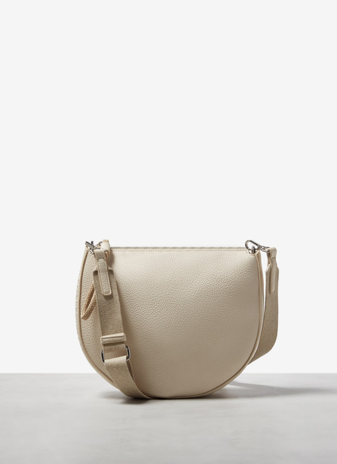 White Granulated Faux Leather Crossbody Bag