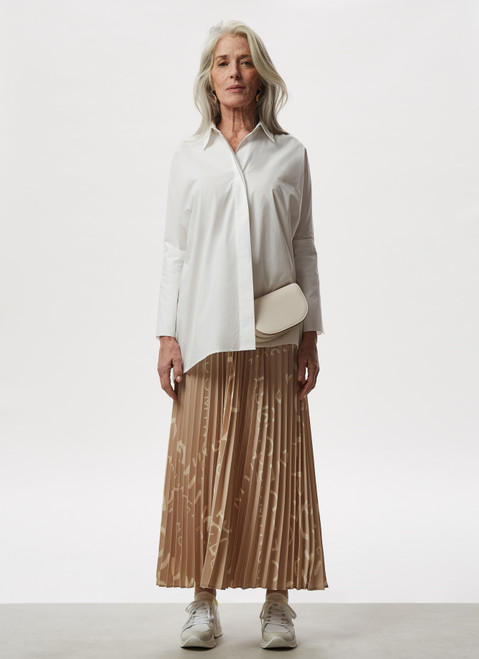WHITE OVERSIZE SHIRT WITH ELBOW BUTTONED CUFF