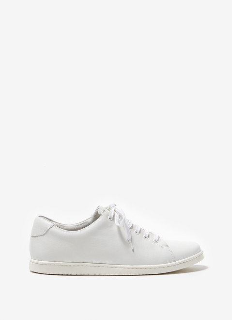 White Leather Sneakers With Rubber Sole