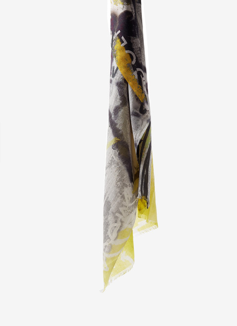 YELLOW MODAL SCARF WITH JAPANESE PRINT