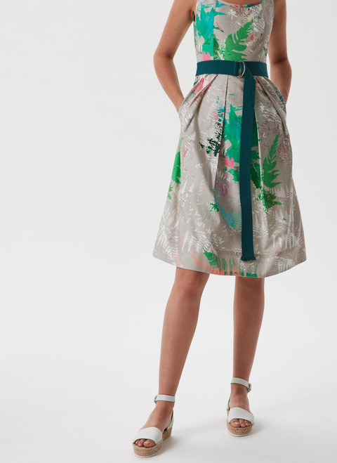 MULTICOLOR2 PLEATED DRESS WITH ETHNIC PRINT