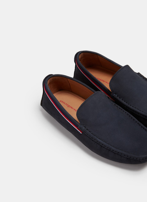 Navy Blue Suede Moccasins With Rubber Sole