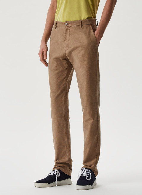 Sand Elasticc Linen And Cotton Chino Trousers