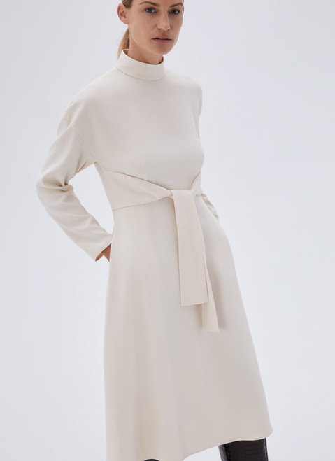 BEIGE LONG SLEEVE DRESS WITH CENTRAL STRIP
